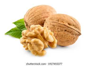 Walnut with leaf isolate. Walnuts peeled and unpeeled with leaves on white. Walnut nut side view. With clipping path. Full depth of field.