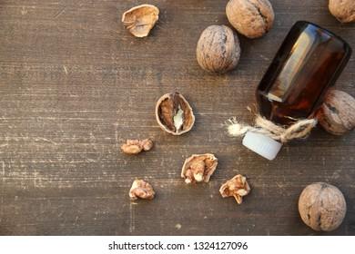 Walnut oil on wooden table