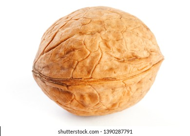 Walnut on white isolated background, clipping path, full depth of field. close up