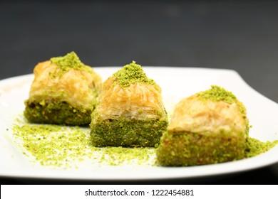walnut, pistachio turkish style antep baklava presentation and service