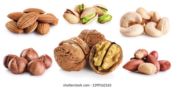 Walnut, pistachios, hazelnut, peanuts, almonds, cashews isolated on white background. Nuts collection.