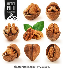 Walnut Set With Clipping Path.