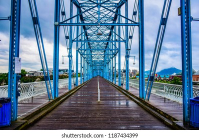 Walnut Street Bridge over the Tennessee River in Downtown Chattanooga Tennessee TN