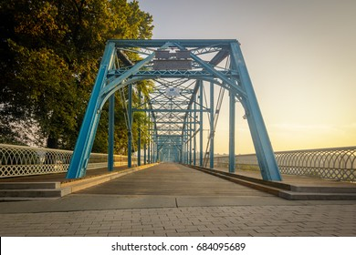Walnut Street walking bridge over the Tennessee River built in 1890 located in Chattanooga, TN