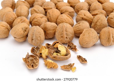 walnuts against white background