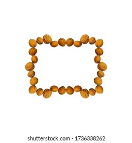 Walnuts arranged as a rectangular frame, on a white background. Useful for food blog posts, banner, labels.