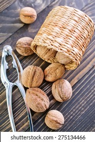 walnuts in basket and on a table