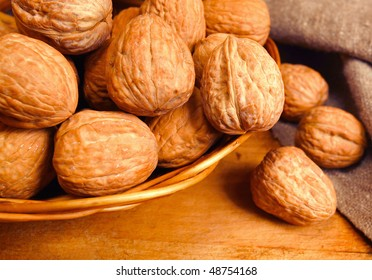 walnuts in basket,focus on a foreground