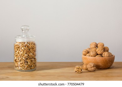 Walnuts in a bowl background