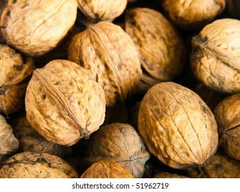 A lot of walnuts close-up