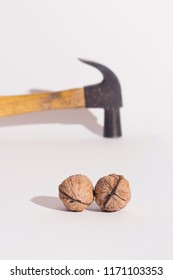 Walnuts and a hammer, on a white surface. Risk and break concept.