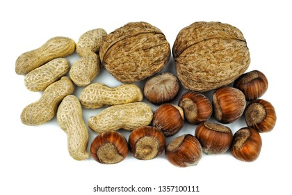 walnuts Hazelnuts and peanuts with shells. Unpeeled walnuts hazelnuts and peanuts isolated on white background. Full depth of field.