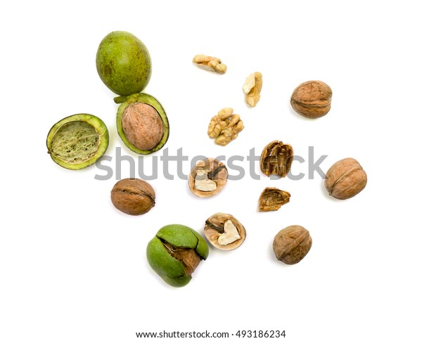 Walnuts (Juglans regia) on white background. Flat lay