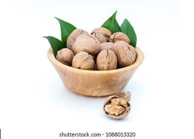Walnuts and walnuts kernels isolated on white background