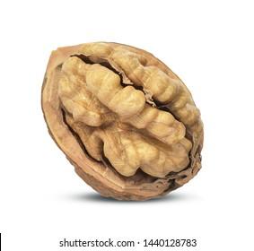 Walnuts kernels on white background