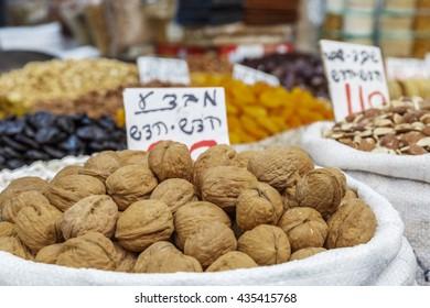Walnuts on the market in Israel