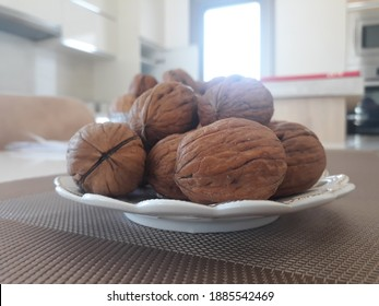 Walnuts on a plate in the kitchen