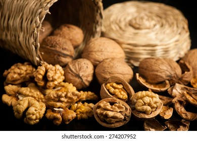 Walnuts on a table in small baskets