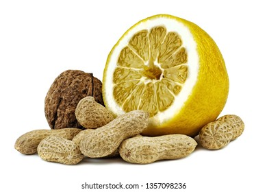 walnuts and peanuts with shells and juicy lemon. Unpeeled walnuts and peanuts isolated on white background. Full depth of field.