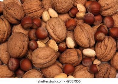 Walnuts, pistachios,  hazelnuts