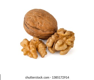 Walnuts in a shell and peeled from it similar to the gyrus of the brain nut color on a white background