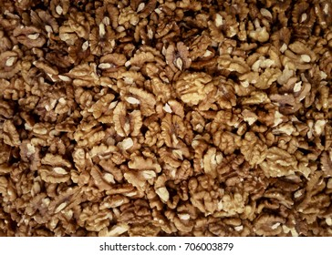 Walnuts texture background.Fresh nuts at a market.