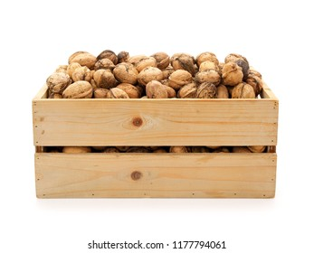 Walnuts in wooden box isolated on white. Contains clipping path