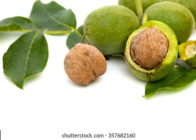 Walnuts(Juglans regia) with green leaves on white background