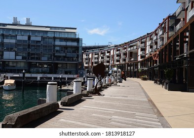 Walsh Bay, Sydney,  Australia: September 12 2020 - Residential apartments, restaurants and wharf along Walsh Bay sculpture walk