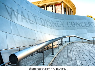 Walt Disney Concert Hall entrance, Modern Architecture Design Building on the 15th August, 2017 - Los Angeles, LA, California, CA, USA