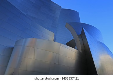 WALT DISNEY CONCERT HALL LOS ANGELES, CALIFORNIA, 7-13-2019: Designed by architect Frank Gehry and home of the LA Philharmonic, the architectural landmark is an acoustically sophisticated concert hall