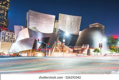 Walt disney concert hall at night,Los Angeles,usa.   -for editorial -07/13/16