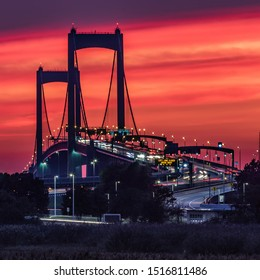 Walt Whitman bridge during a beautiful sunset