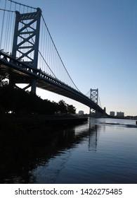walt whitman bridge during sunrise