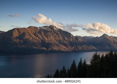 Walter peak and Lake Wakatipu in Queenstown, New Zealand.