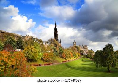 The Walter Scott Monument on Princess Street, Edinburgh, Scotland