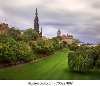 Walter Scott Monument in the Rainy Day, Edinburgh, Scotland