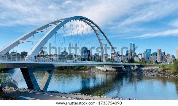 Walterdale Bridge and Downtown Edmonton AB