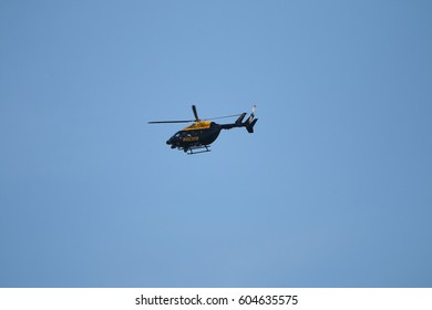 WALTHAM FOREST, LONDON - OCTOBER 17, 2016:  A Metropolitan Police helicopter near Walthamstow