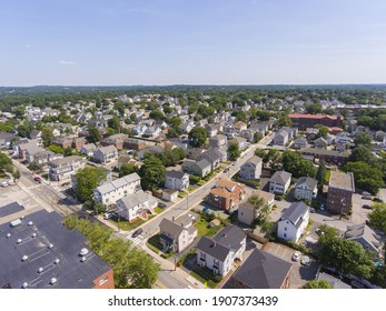 Waltham Moody Street aerial view in city of Waltham, Massachusetts MA, USA. Moody Street is the commercial center of Waltham.