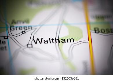 Waltham. United Kingdom on a geography map