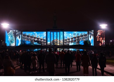 Walthamstow, England – January 12th 2019: Image shows a video being projected on to Walthamstow town hall for the waltham forest borough of culture event.