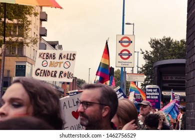 WALTHAMSTOW, UNITED KINGDOM - JULY , 2019: People celebrating Waltham Forest Pride. A diverse parade celebrating the LGBT+ community.