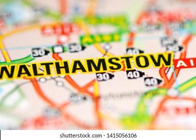 Walthamstow. United Kingdom on a geography map