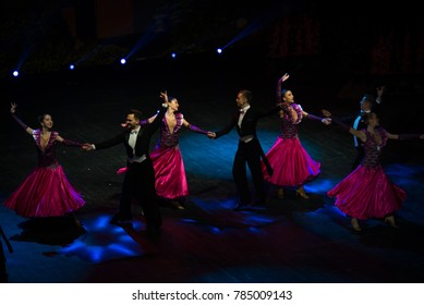 Waltzing pairs on  Second creative reporting concert of National academy of leading cadres of culture and arts in National Academic Opera and Ballet Theater, Kiev, Ukraine, december 2017