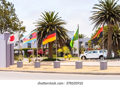 WALVIS BAY, NAMIBIA - JAN 7, 2016: Hotel at the Walvis Bay, The English referred to it English as Whale Bay.