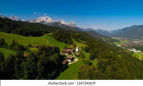 Wamberg, Germany - July 31, 2018: Wamberg is Germany's highest-altitude village. The idyllic village has 27 inhabitants and its own church from the 1700s.