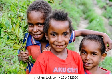 WAMENA, WEST PAPUA -OCT 28,2010 : Dani children have now adopted western clothes, they will no longer wear the traditional penic koteka, Wamena in West Papua, on October 28, 2010.