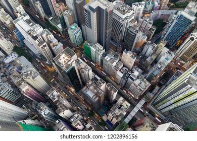 Wan Chai, hong Kong, 04 OCtober 2018:- Top view of Hong Kong city