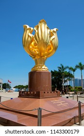 Wan Chai, Hong Kong, China - May 31 2018: The Golden Bauhinia Square in front of The Expo Promenade is the tourist attraction point in Wan Chai district , Hong Kong.